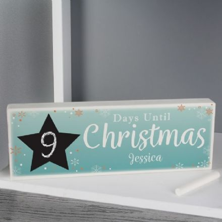 Christmas Chalk Countdown Wooden Block Sign